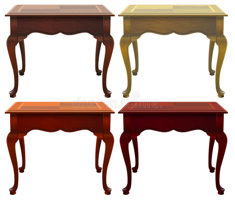 Four wooden tables. On a white background royalty free illustration