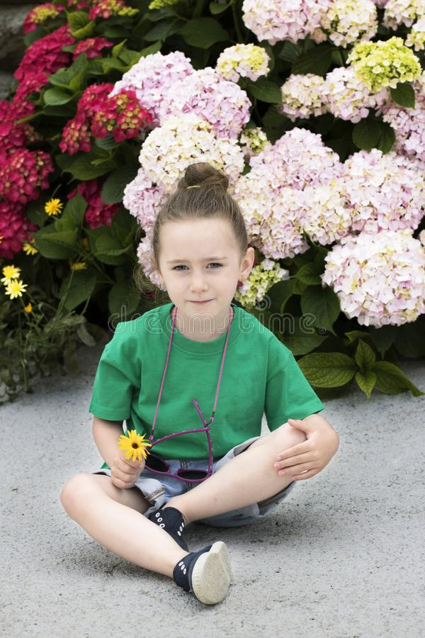 A four-year-old girl in front of several flowering plants stock photo