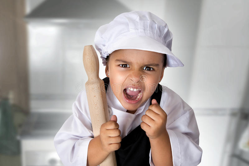 Four years chef girl royalty free stock image