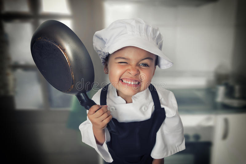 Four years chef girl royalty free stock photo