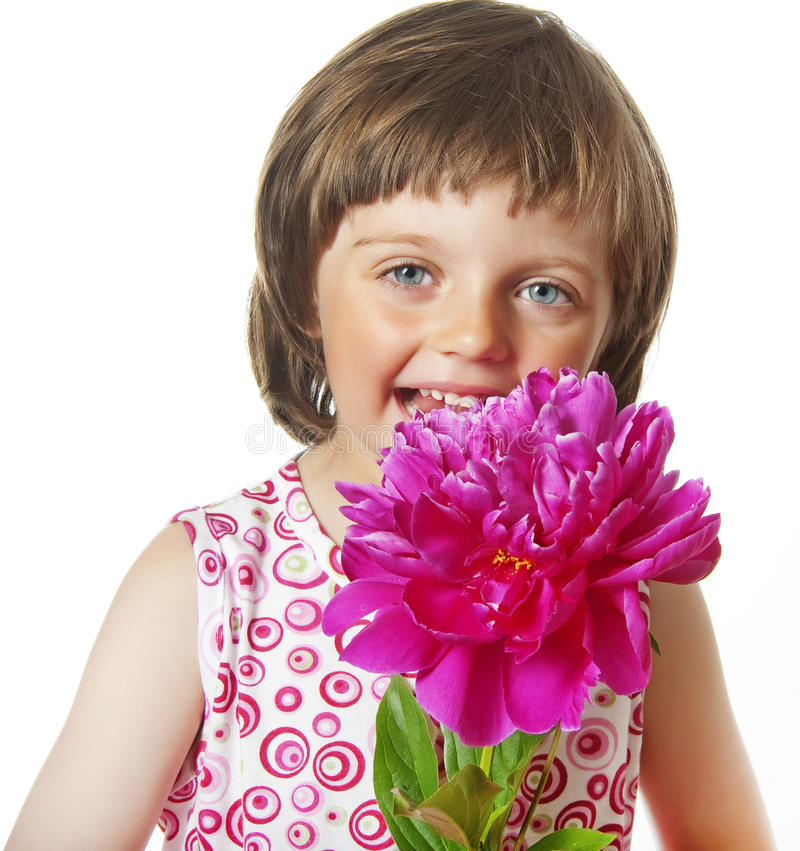 Download Four Years Old Girl With Peony Flower Stock Image - Image: 19663449