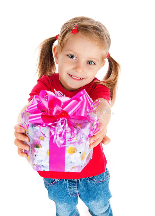 Free Four Years Old Girl Wih The Present Stock Photography - 16941582