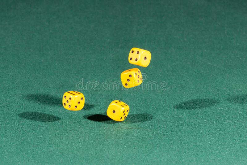 Four yellow dices falling on a green table royalty free stock image