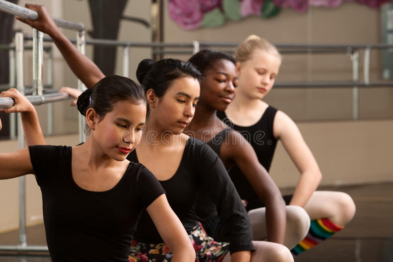 Download Four Young Ballet Students stock image. Image of latino - 24882109
