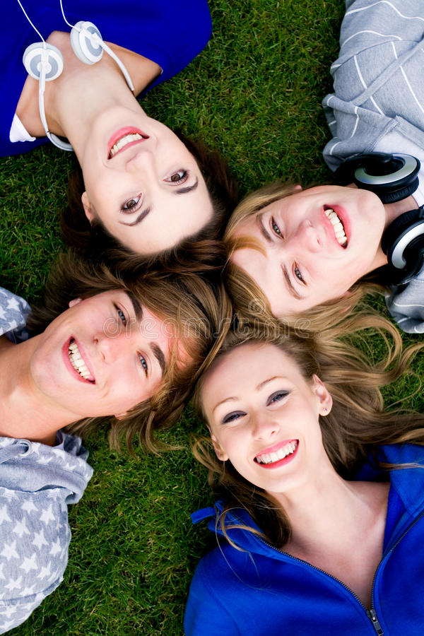 Download Four young friends stock image. Image of overhead, people - 11478041