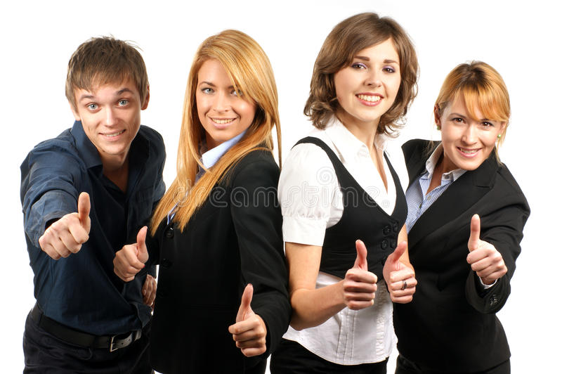 Four young and happ businesspersons royalty free stock photos
