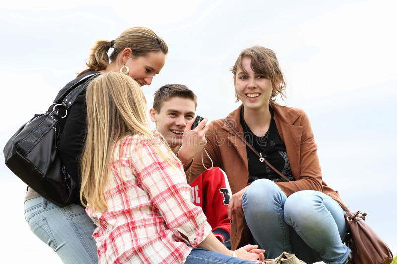 Download Young People Meet And Laugh Stock Image - Image of comradeship, chill: 20683613
