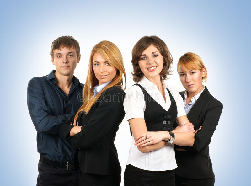Four young and smart businesspersons together royalty free stock photos