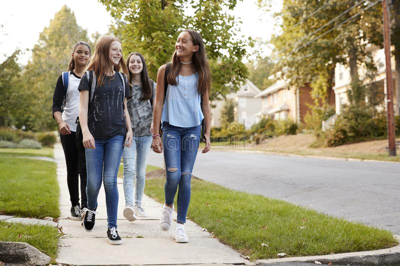 Four young teen girls walking to school together, front view stock image
