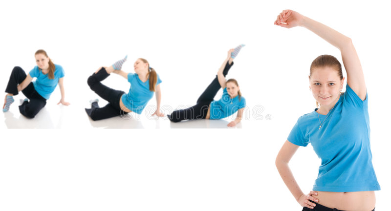 The four young woman doing exercise isolated stock photography