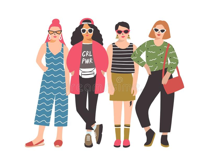 Four young women or girls wearing stylish clothing standing together. Group of female friend, feminists or feminism. Activists. Cartoon characters isolated on royalty free illustration