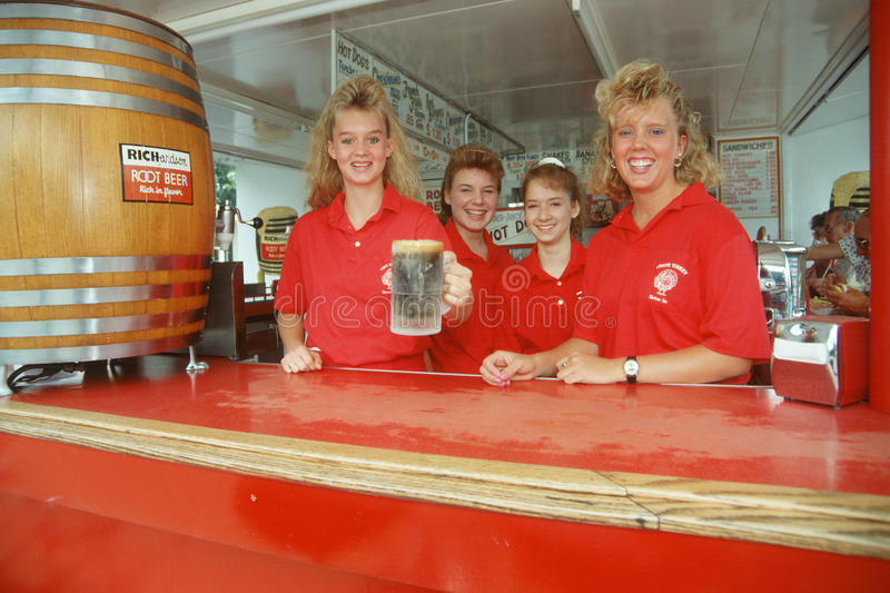 Download Four Young Women Serving Root Beer Editorial Stock Image - Image: 25964254