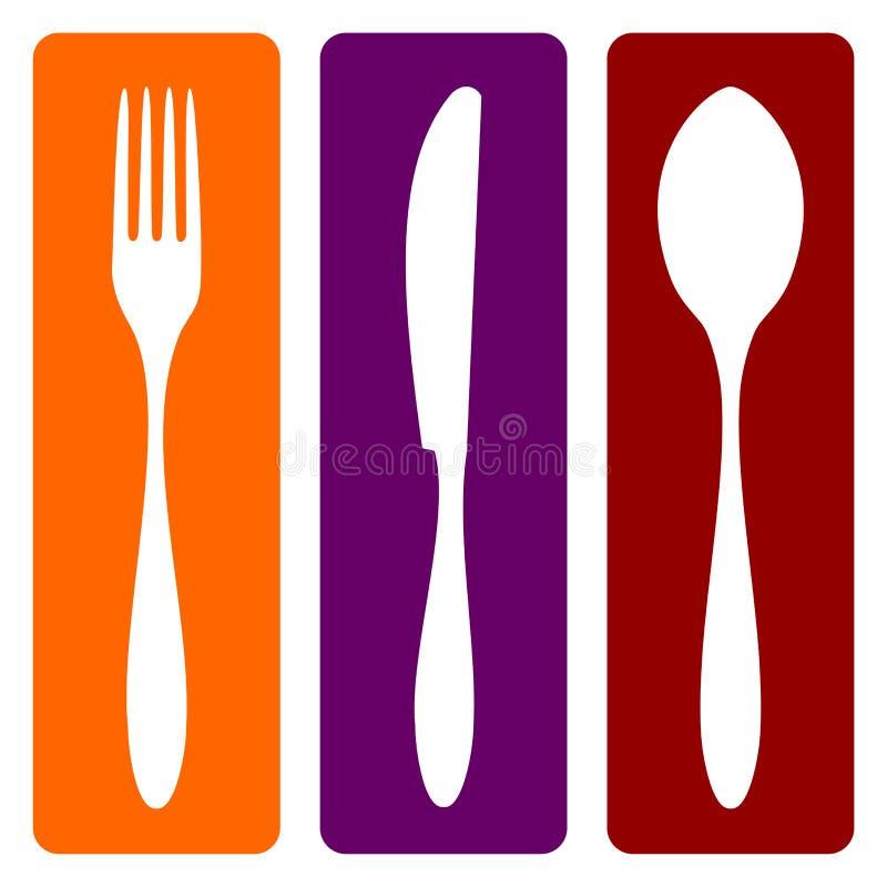 Fourchette, couteau et cuillère illustration de vecteur