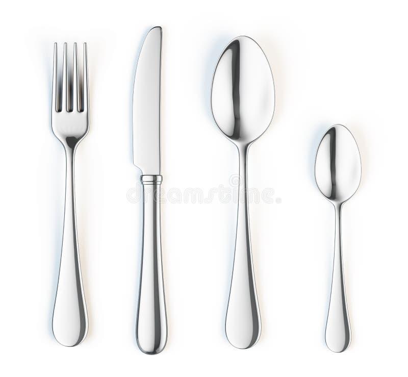 Fourchette, couteau et cuillère illustration stock