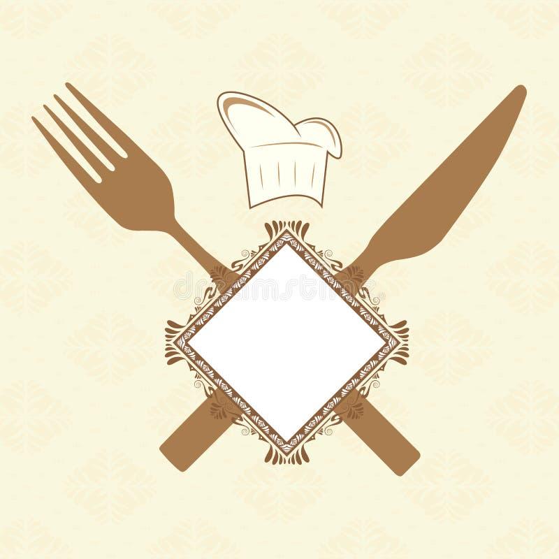 Fourchette, couteau et drapeau illustration stock