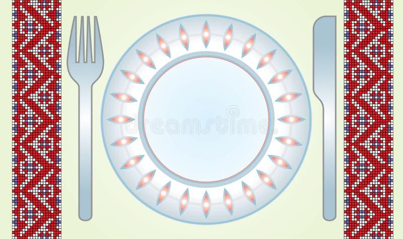 Fourchette-couteau-paraboloïde-table-tissu illustration stock