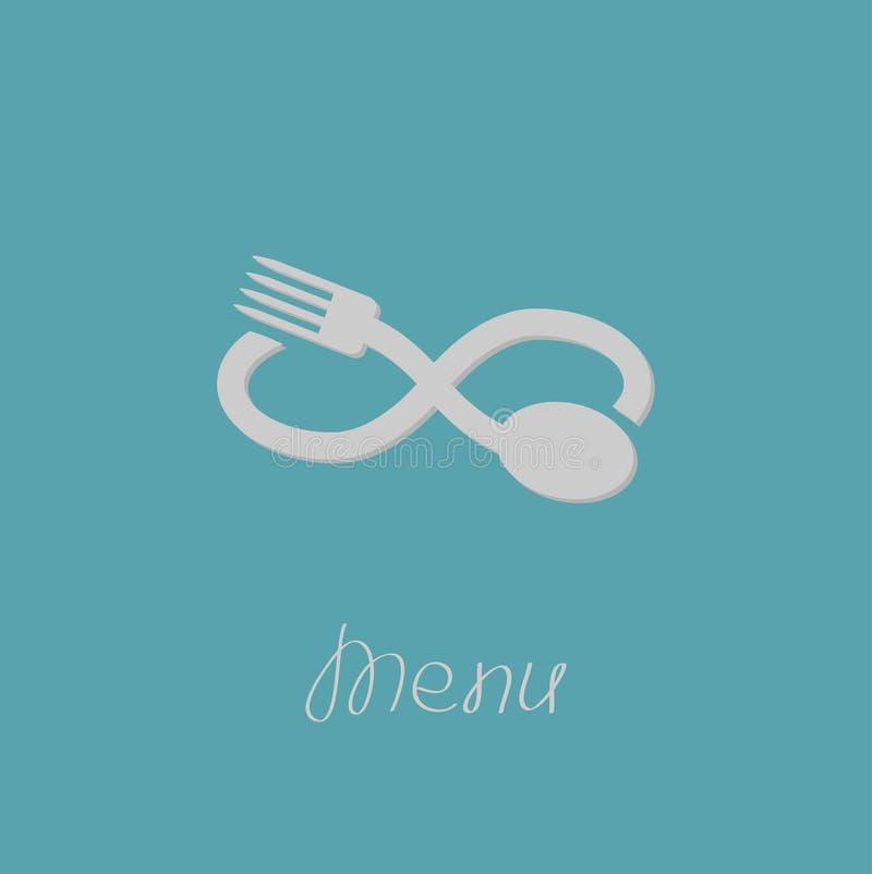 Fourchette, cuillère et signe d'infini Carte de menu Style plat de conception illustration stock