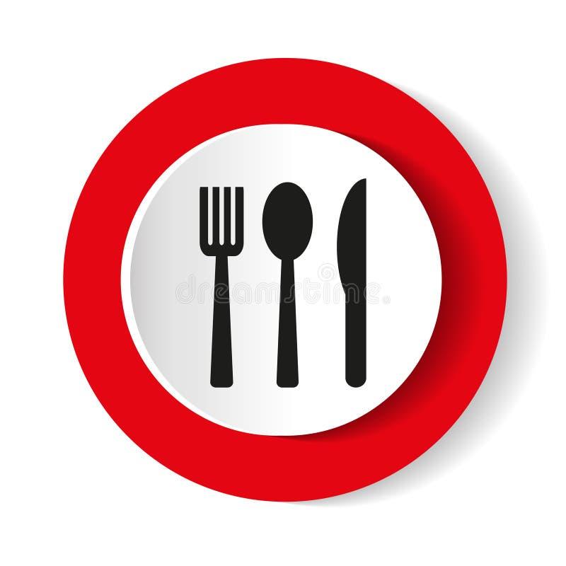 Fourchette d'icône, cuillère, couteau sur un fond rouge Illustration de vecteur illustration stock
