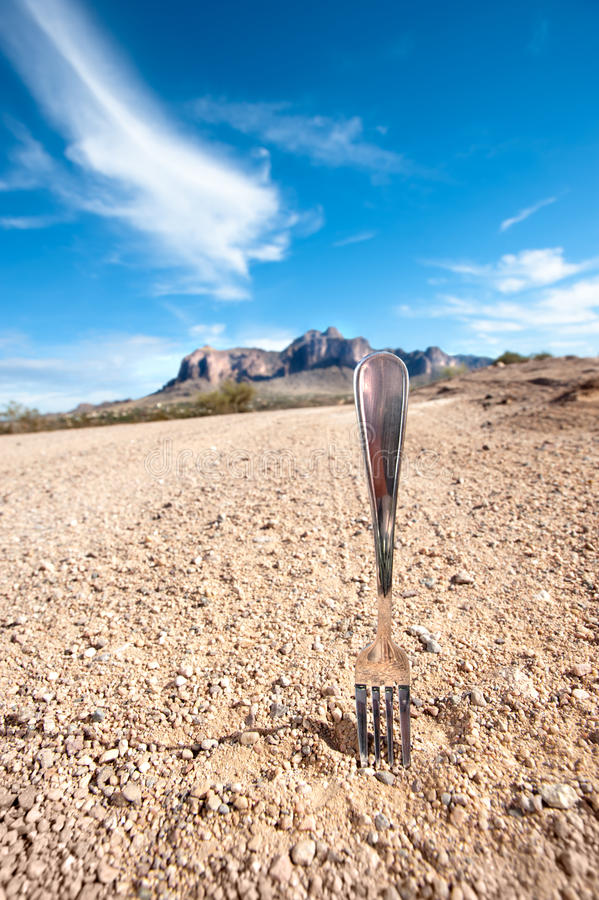 Fourchette dans la route image libre de droits