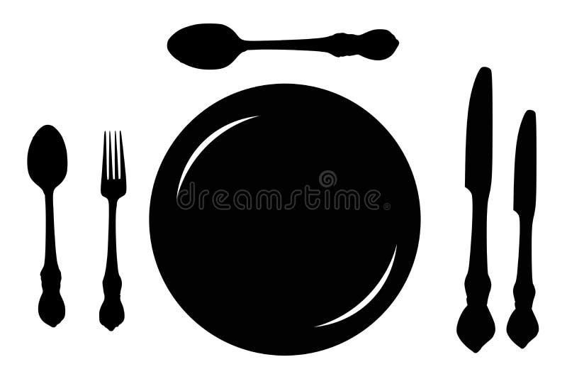 Fourchette de cuillère de plat illustration de vecteur