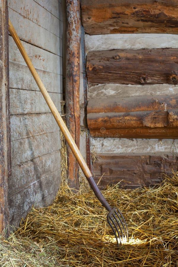 Fourchette de lancement en foin dans la stalle de cheval photo stock