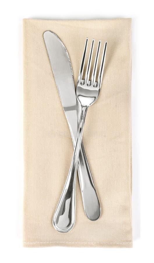 Fourchette et couteau en tissu photos libres de droits