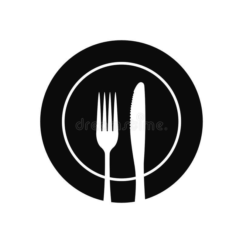 Fourchette et couteau sur un vecteur d'icône de plat illustration stock