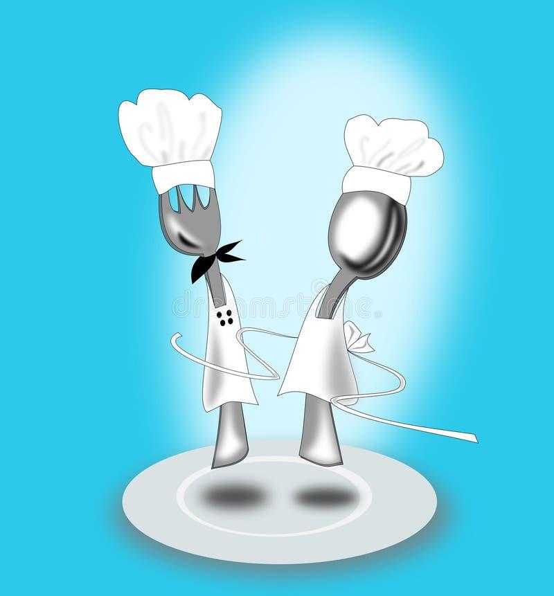 Fourchette et cuillère illustration de vecteur