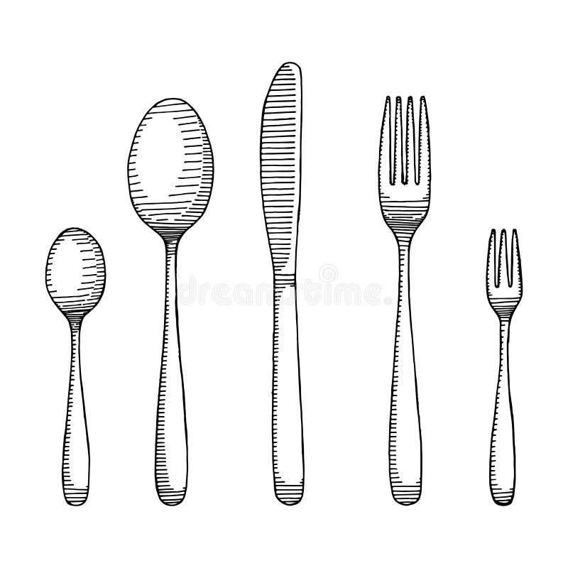 Fourchette et cuill re avec un dessin de couteau vecteur de croquis de couverts illustration de - Cuillere dessin ...
