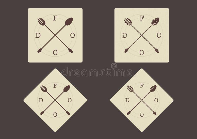 Fourchette et cuillère croisées dirigez de nourriture de signe †« illustration de vecteur