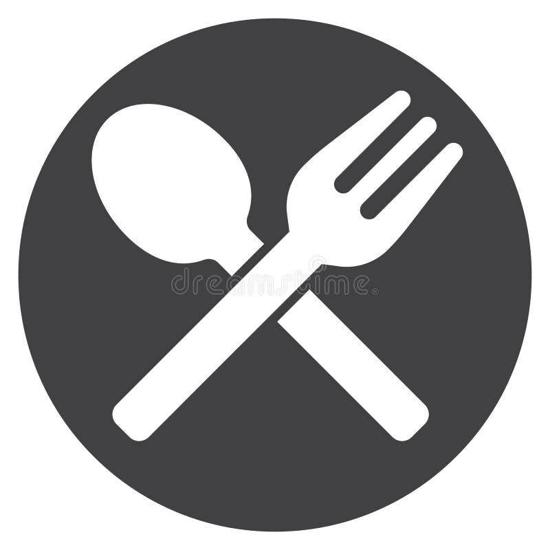 Fourchette et cuillère croisées sur le vecteur d'icône de plat, signe plat rempli, pictogramme solide d'isolement sur le blanc illustration libre de droits