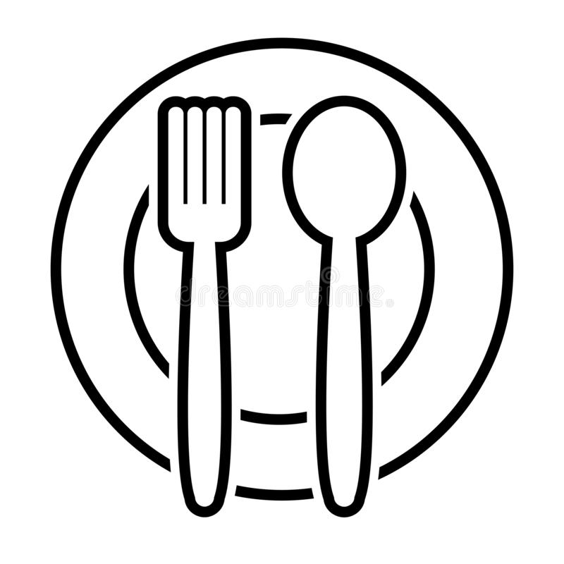 Fourchette et cuillère de plat, conception d'ensemble Vecteur illustration libre de droits