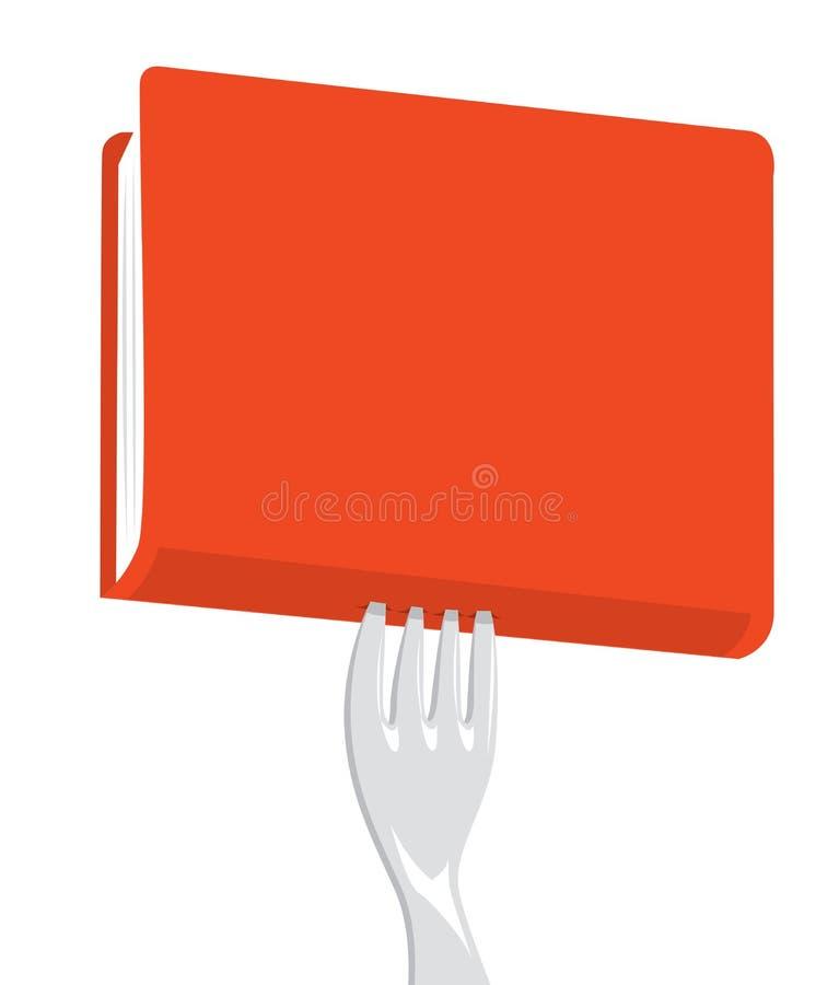 Fourchette poignardant un livre rouge pour dévorer illustration stock