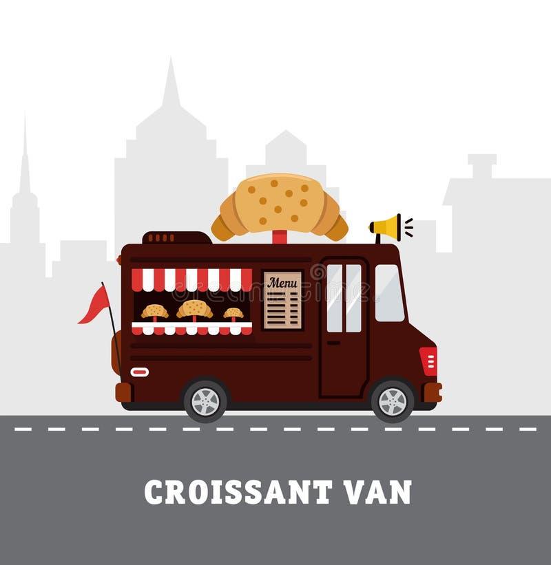 Fourgon de nourriture de rue La livraison de prêt-à-manger Conception plate illustration stock
