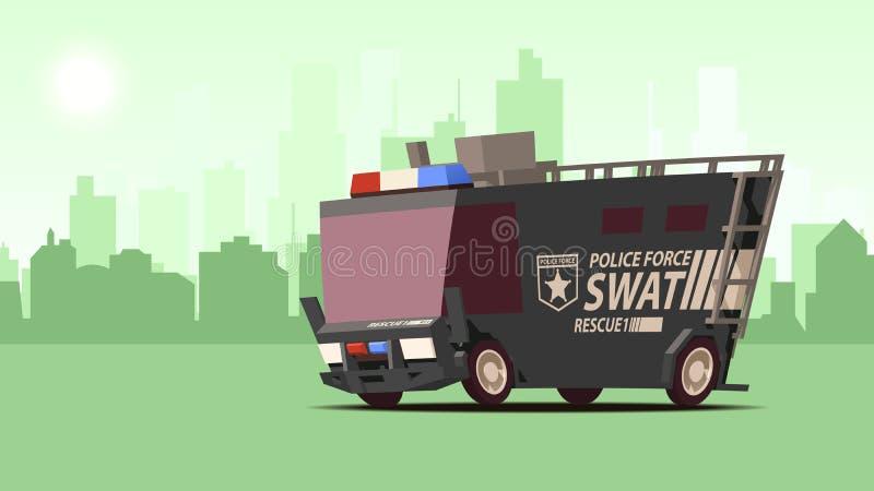 Fourgon de police COUP blindé de véhicule de forces spéciales sur le fond de paysage de ville illustration de vecteur