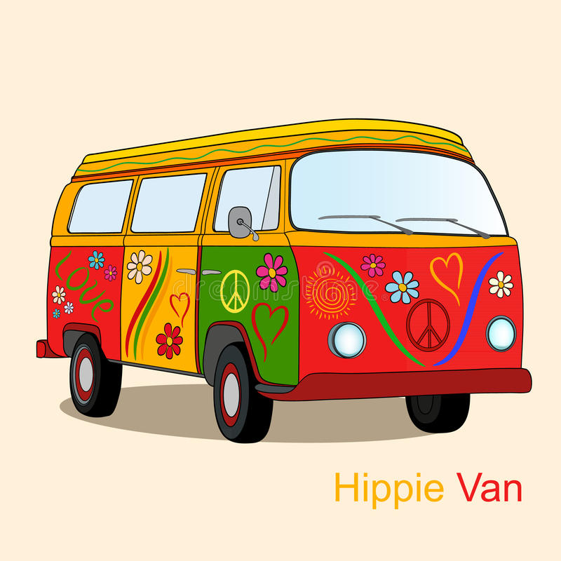 Fourgon hippie de vintage illustration de vecteur