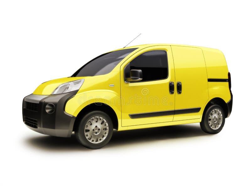 Fourgon industriel jaune sur un fond blanc images libres de droits