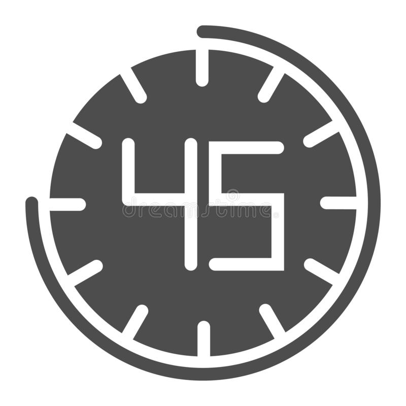 Fourhty five seconds on watch solid icon. 45 minutes time vector illustration isolated on white. Clock glyph style royalty free illustration