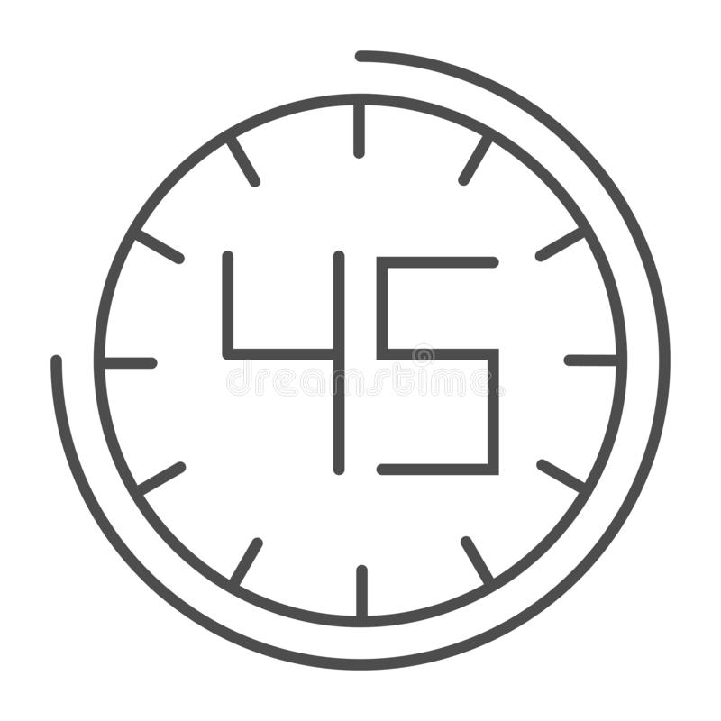Fourhty five seconds on watch thin line icon. 45 minutes time vector illustration isolated on white. Clock outline style vector illustration