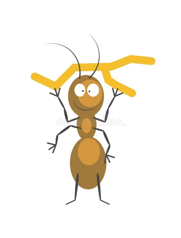 Fourmi brune drôle qui tient la petite branche sèche illustration libre de droits