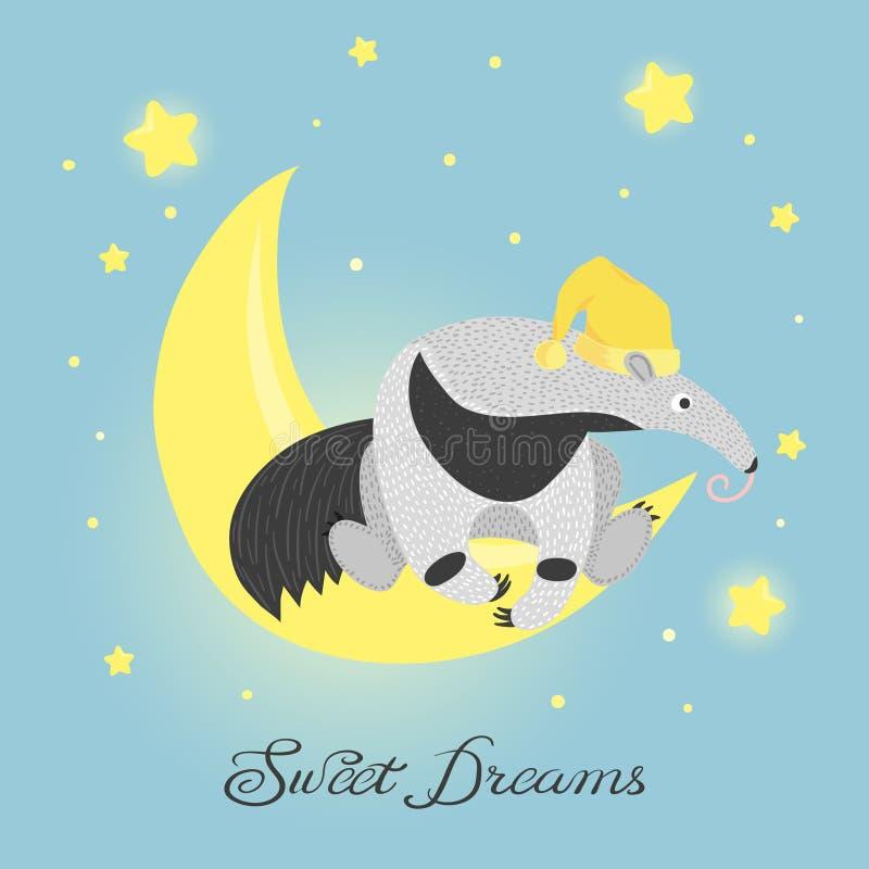 Fourmi-mangeur mignon sur la lune R?ves doux illustration stock