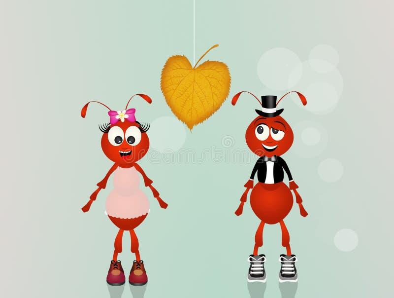 Fourmis dans l'amour illustration stock