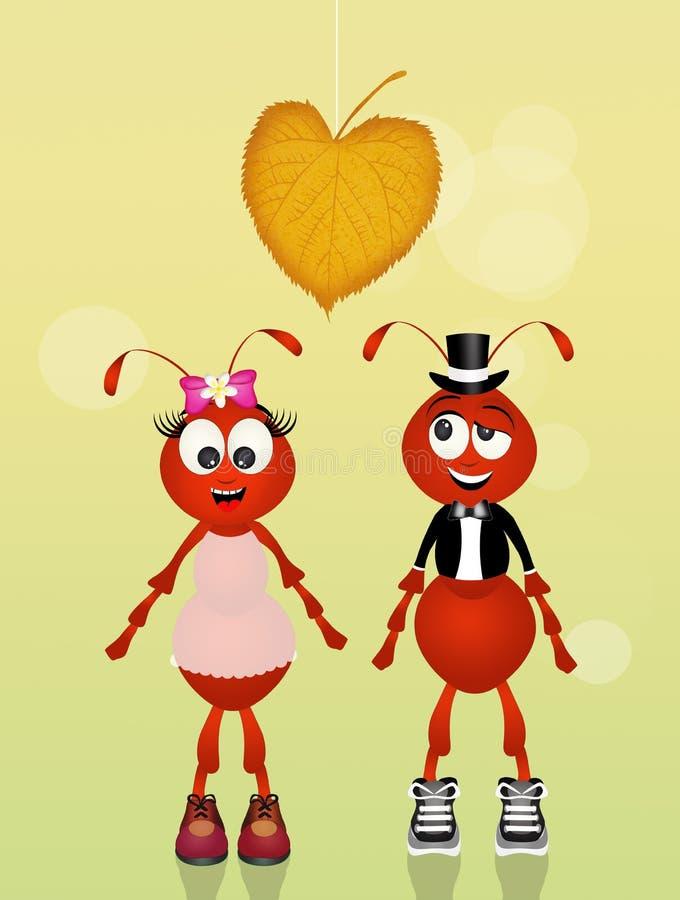 Fourmis dans l'amour illustration libre de droits