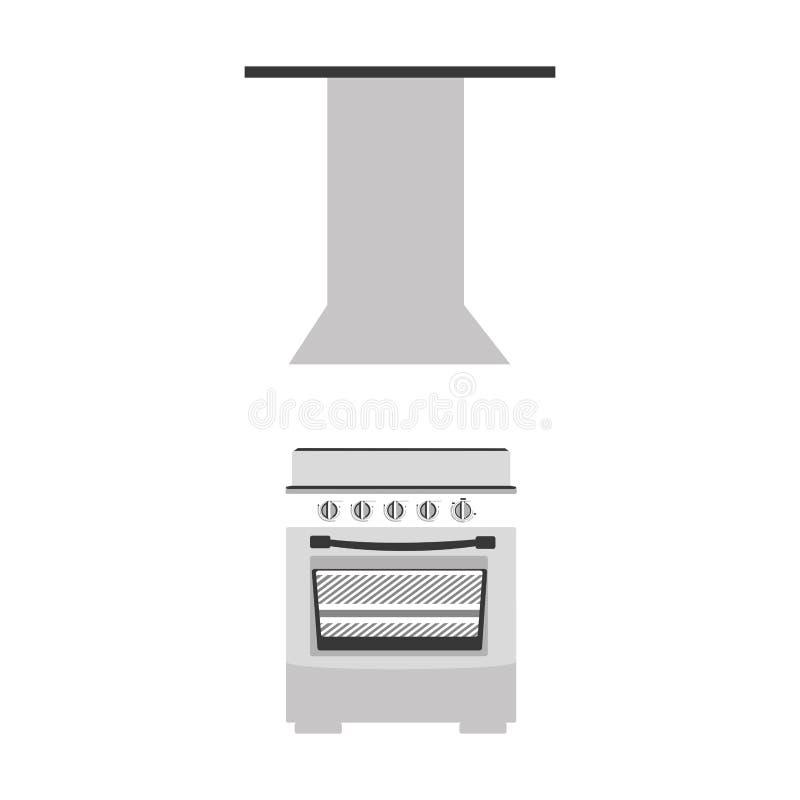 fourneau de silhouette de gamme de gris avec avec le capot d'extracteur illustration libre de droits