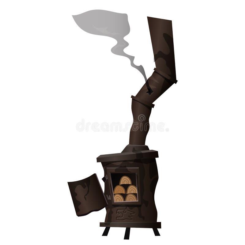 Fourneau rouillé antique, qui est passionné avec le bois de chauffage illustration stock