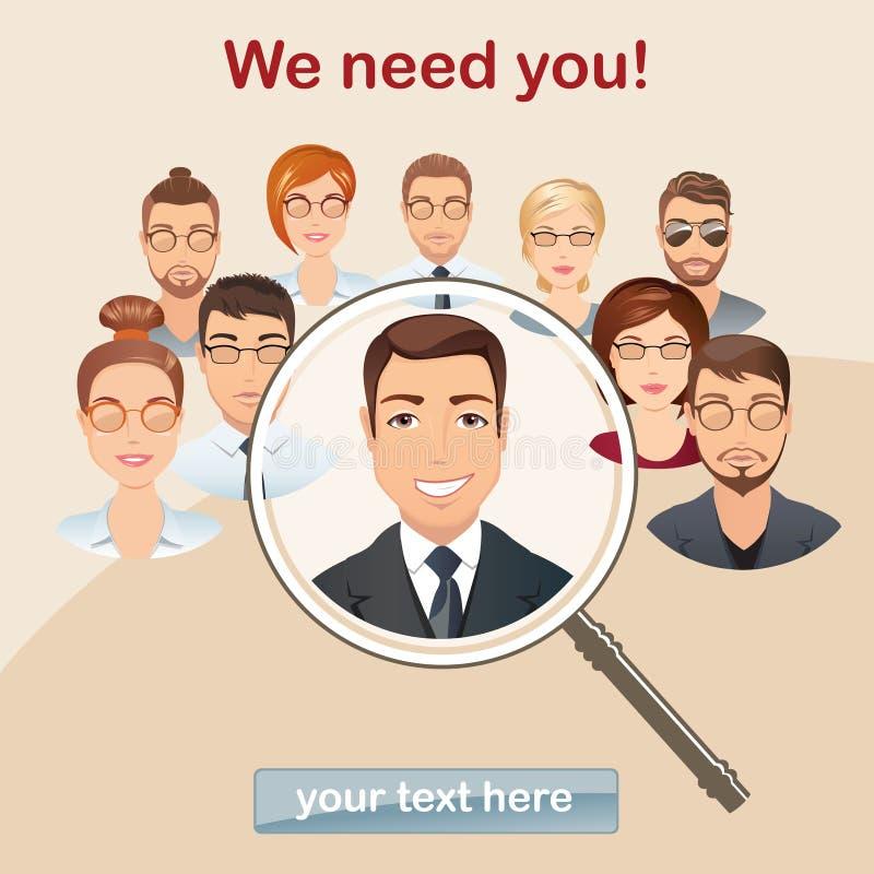 Fournissez la recherche de personnel, concept de gestion de ressources humaines, professionnel illustration de vecteur