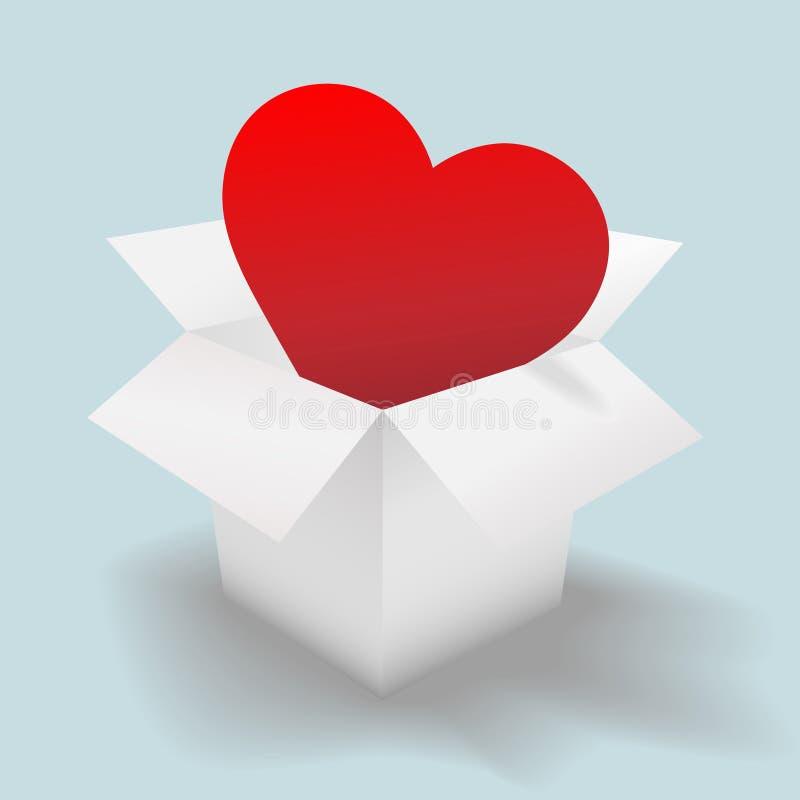 Fournissez un coeur ouvert dans un carton blanc d'expédition illustration libre de droits