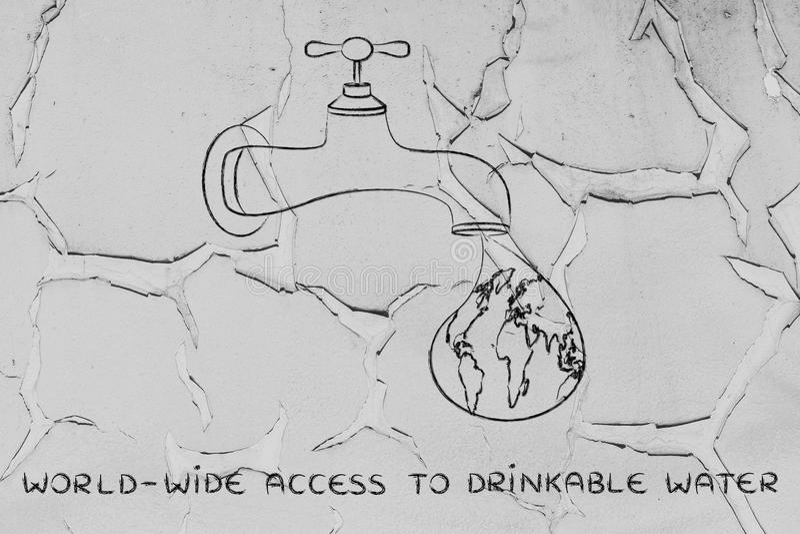Fourniture de l'accès mondial à l'eau potable : le monde dans un d photos stock