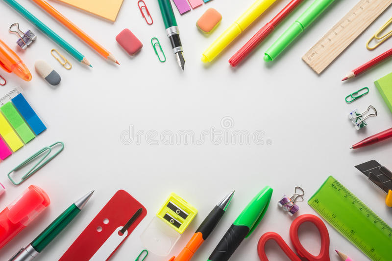 Fournitures de bureau d'école photo stock