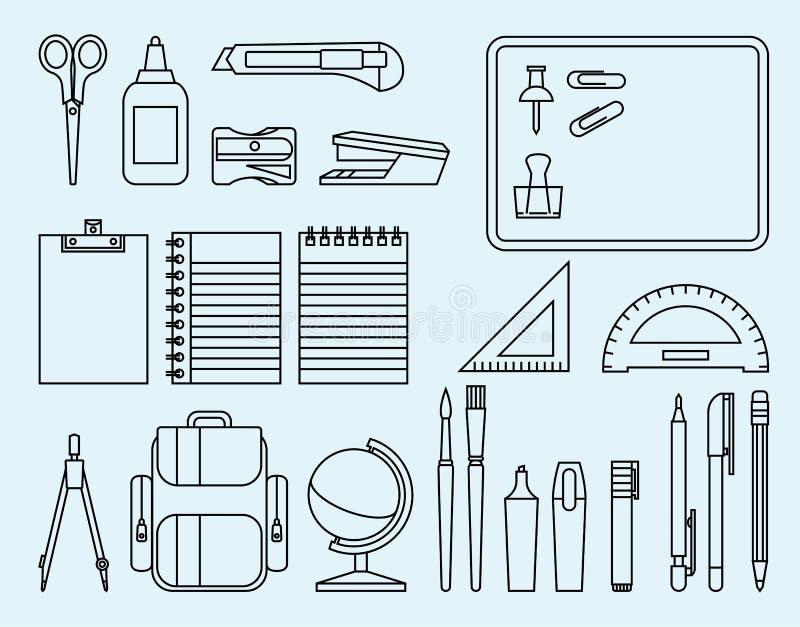 Fournitures de bureau d'école et illustration stock